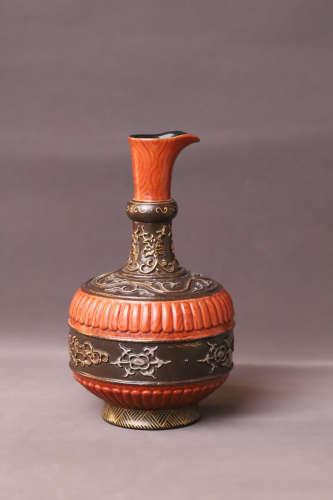 A Red Glazed Flower Pattern Porcelain Vase