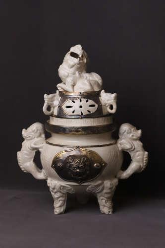 A Ding Kiln Carved Lion Double Ears Porcelain Incense Burner