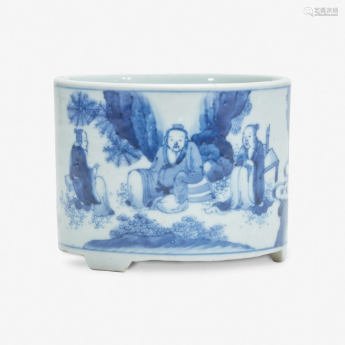 A small Chinese blue and white porcelain cylindrical