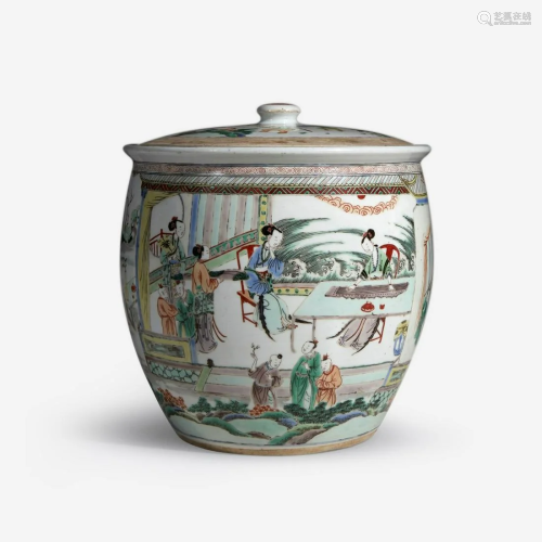 An unusual large Chinese famille verte-decorated