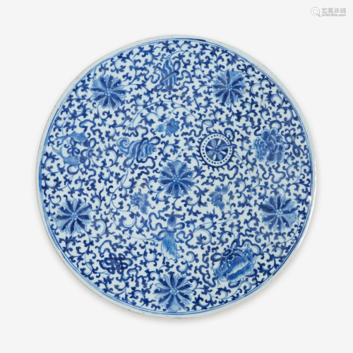 A Chinese blue and white porcelain circular plaque