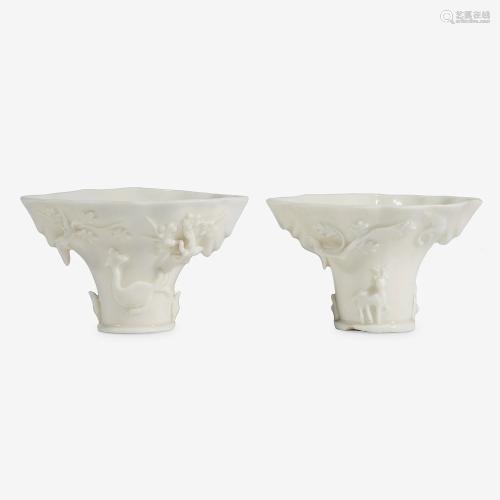 Two similar Chinese Dehua porcelain libation cups