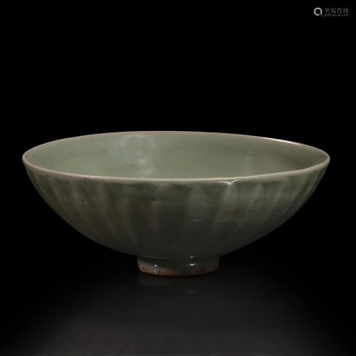 A Chinese Longquan celadon petal-carved