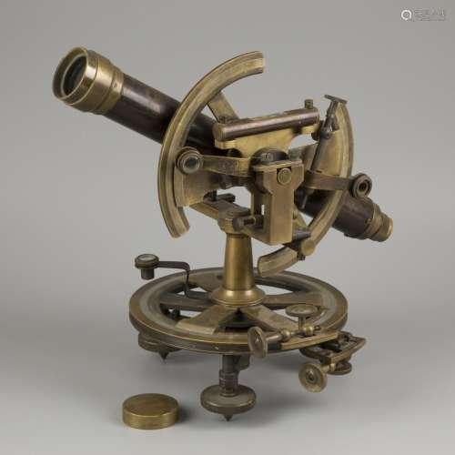 A brass A. Meisner surveyors' level spirit instrument (trans...