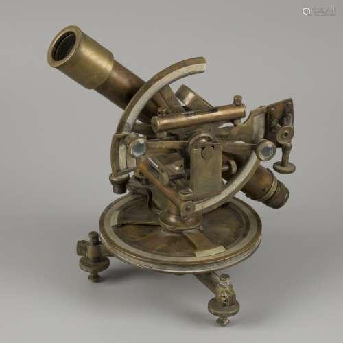 A brass surveyors' spirit level instrument with compass (tra...