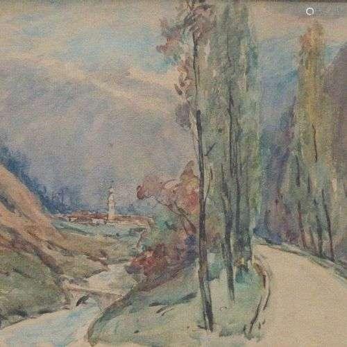 DREVET (Joannès). Bozel. 1928. Aquarelle 30 x 25 cm à vue, e...