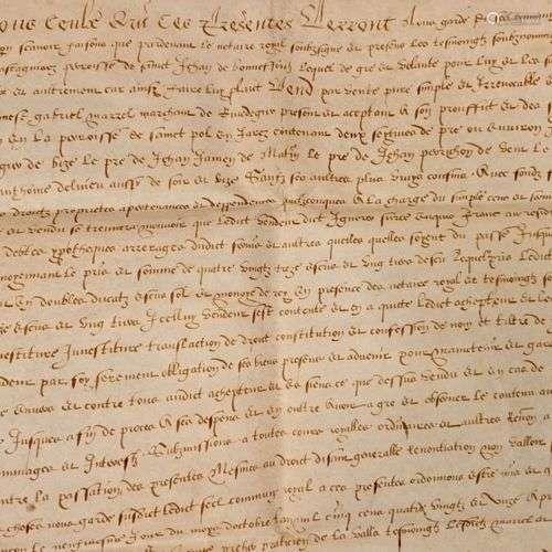 FOREZ. Belle pièce manuscrite, sur parchemin. Datée du 9 Oct...