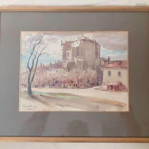 DREVET (Joannès). La Voulte 1926. Aquarelle localisée, datée...
