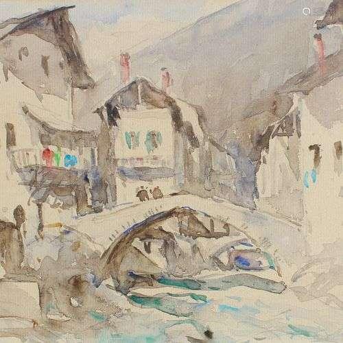 DREVET (Joannès). Beaufort-sur-Foron. Aquarelle originale (2...