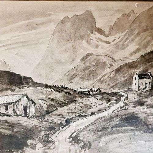 DREVET (Joannès). Col du Glandon 1929. Lavis de grande taill...