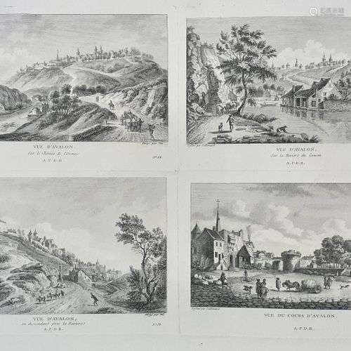(BOURGOGNE) AVALLON. Tres rare estampe du XVIII siècle (daté...