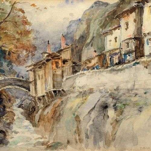 DREVET (Joannès). Paysage de Maurienne. Aquarelle originale,...