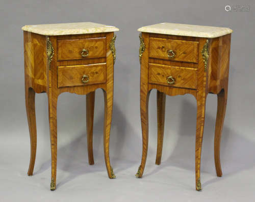 A pair of 20th century French kingwood and gilt metal mounte...