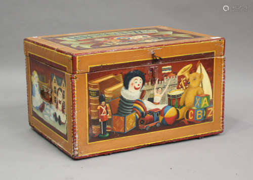 A late Victorian toy box, later polychrome painted throughou...
