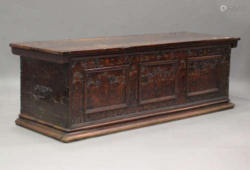 A large 17th century Italian cedar and walnut Adige chest, t...