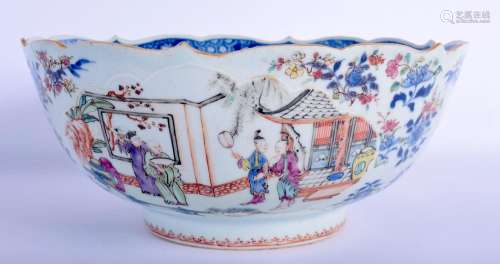 AN UNUSUAL 18TH CENTURY CHINESE EXPORT FAMILLE ROSE BLUE AND...