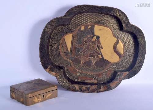 A VERY LARGE 19TH CENTURY JAPANESE MEIJI PERIOD BLACK LACQUE...
