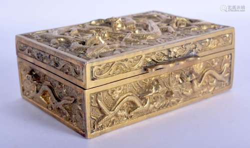 AN EARLY 20TH CENTURY CHINESE BRONZE DRAGON CASKET Late Qing...