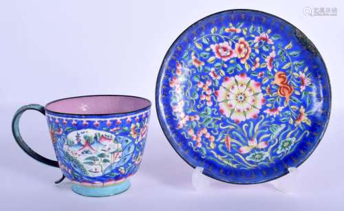 A RARE 19TH CENTURY CHINESE CANTON ENAMEL CUP AND SAUCER Qin...