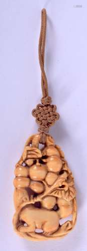 A RARE 19TH CENTURY CHINESE CARVED IVORY PENDANT Qing, model...