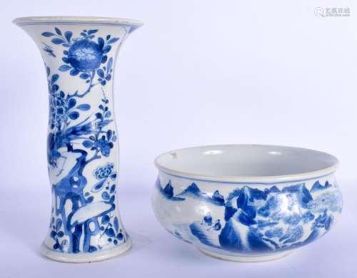 A 17TH/18TH CENTURY CHINESE BLUE AND WHITE GU FORM BEAKER VA...
