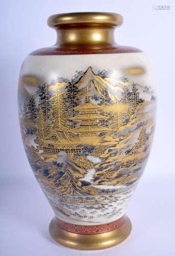 A LATE 19TH CENTURY JAPANESE MEIJI PERIOD SATSUMA VASE paint...