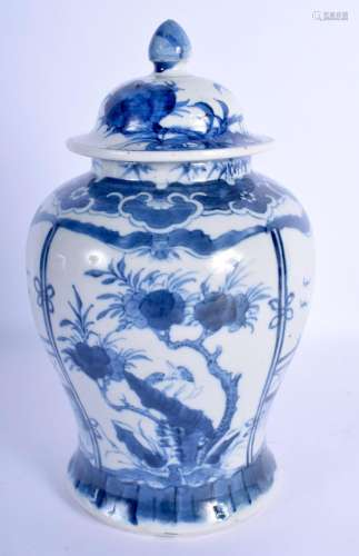 A 19TH CENTURY CHINESE BLUE AND WHITE PORCELAIN VASE AND COV...