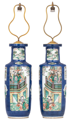 A pair of Chinese bleu poudré ground and famille verte