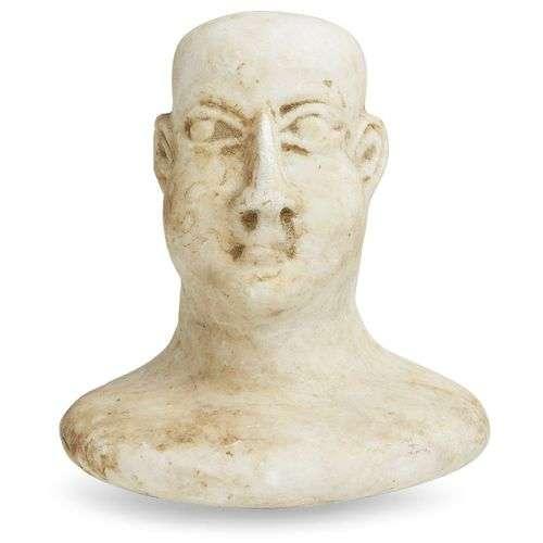 Tête en marbre de Bactriane provenant d'une figure composite...