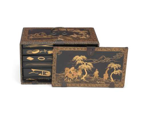 A lacquered-wood rectangular box and cover with matching tra...