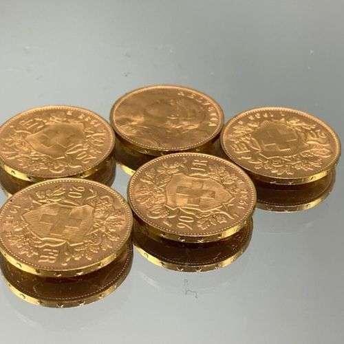 5 pièces de 20F or Suisse