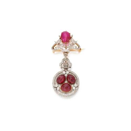 Ruby and diamond brooch- watch   (Spilla -orologio in diaman...