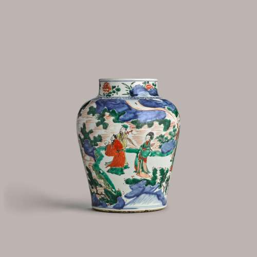 A polychrome 'Immortals' baluster jar 17th century | 十七世紀...