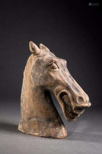 Tête de cheval hennissant. Terre cuite. Dans le style des Han. Chine. Province du Sichuan. Ht  26cm.