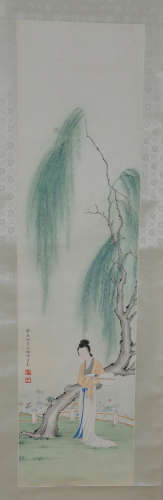 Chinese water color painting on paper scroll.