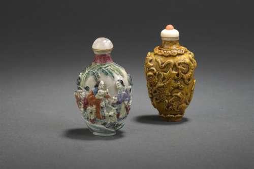 Deux tabatières en porcelaine Chine, XIXe et XXe s...