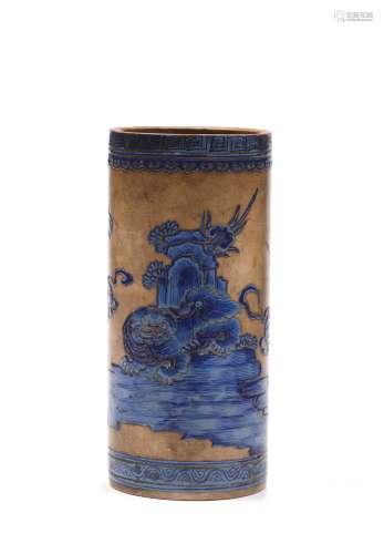 Japon, vers 1900Vase cylindrique en grès beige,...