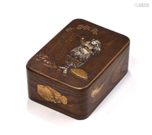 Japon, période MeijiSuzuribako en bois le couve...