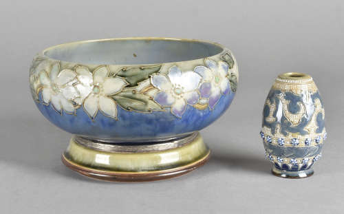 A Doulton Lambeth ovoid vase, together with a Royal Doulton stoneware stand with silver rim and a