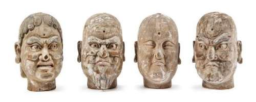 Four Carved Wood Heads of Luohan Height of each 30