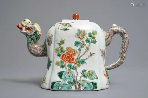 A Chinese famille verte dragon-shaped teapot with floral design, 19/20th C.