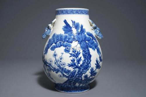 A Chinese blue and white 'Three friends of winter' hu vase, Qianlong mark, 19/20th C.