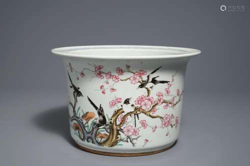 A Chinese famille rose 'prunus and magpie' jardinière, 19/20th C.
