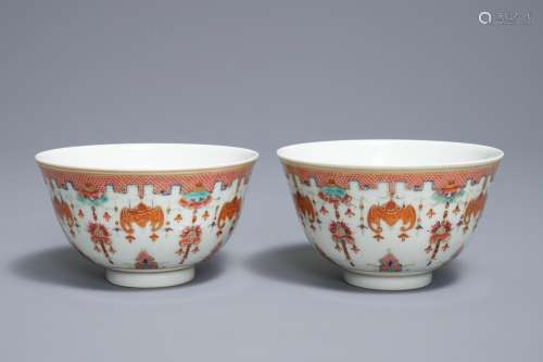 A pair of Chinese famille rose bowls, Guangxu mark, 19/20th C.