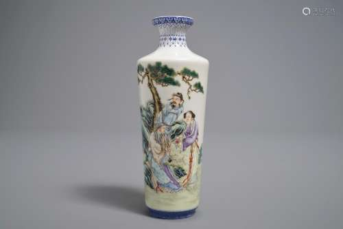 A Chinese famille rose eggshell rouleau vase, Qianlong mark, 20th C.