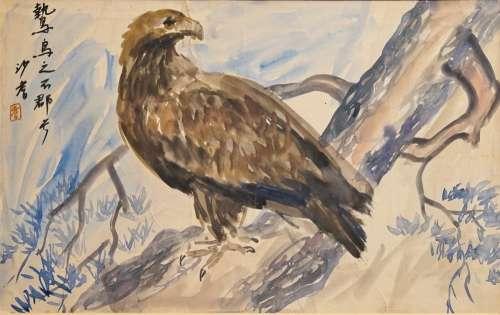 Sadji (Sha Qi, Sha Yinnian) (1914-2005), An eagle, watercolor and ink on paper, signed upper left