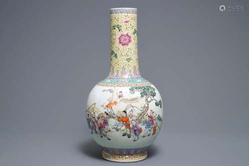 A Chinese famille rose 'playing boys' vase, Qianlong mark, 20th C.