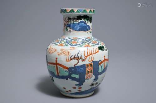 A Chinese wucai 'mythical beasts' vase, 19/20th C.