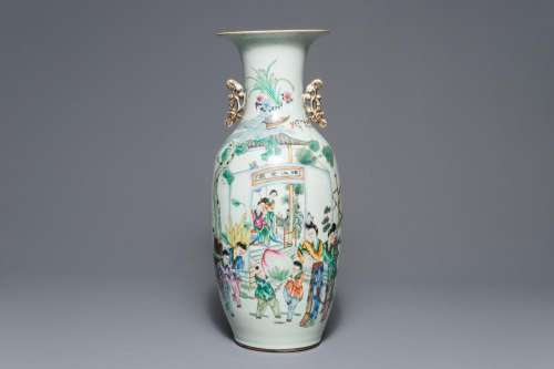 A Chinese famille rose double design vase, 19/20th C.