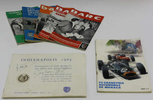 A group of motoring publications, including an Indianapolis 1965 brochure for the presentation of